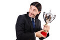 Businessman awarded with prize cup isolated on white Royalty Free Stock Image