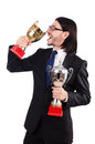 Businessman awarded with prize cup isolated on white Royalty Free Stock Photos
