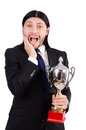 Businessman awarded with prize cup isolated on white Stock Photography