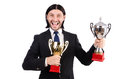 Businessman awarded with prize cup isolated on white Stock Photo