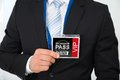Businessman with backstage pass Royalty Free Stock Photo