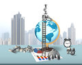Businessman balancing stack money symbols on terrestrial globe with wooden ladder the table Royalty Free Stock Photo