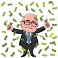 Businessman bald cartoon money rich happy boss standing under rain of white Royalty Free Stock Images