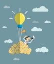 Businessman -Balloon- brain with light bulb. Royalty Free Stock Photo