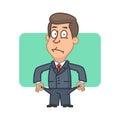 Businessman bankrupt shows everted pockets