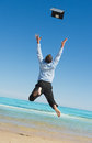 Businessman  on the beach Royalty Free Stock Photo