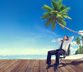 Businessman Beach Relaxation Getting Away From It All Concept Royalty Free Stock Photo