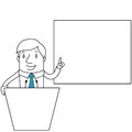 Businessman behind lecturn pointing at screen Royalty Free Stock Photo
