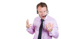 Businessman being mad angry screaming on his hands free device a close up portrait of a customer service representative having a Royalty Free Stock Image