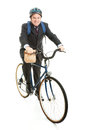 Businessman Bicycles to Work Stock Photos
