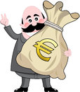 Businessman big bag money euro happy cartoon holding full of isolated on white background you can find other illustrations Royalty Free Stock Photo