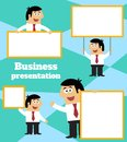 Businessman with blank sign banner and placard business life for message template vector illustration Royalty Free Stock Photo