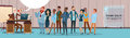 Businessman Boss Hold Megaphone Loudspeaker Colleagues Mix Race Business People Team Group