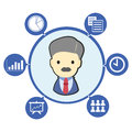 Businessman boss with office business symbol and icons Royalty Free Stock Images