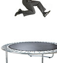 Businessman bouncing on a trampoline on white Stock Photos