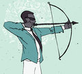 Businessman with bow and arrow, archery business illustration