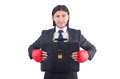 Businessman with boxing gloves on white Royalty Free Stock Images