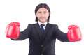 Businessman with boxing gloves on white Stock Photo