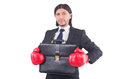 Businessman with boxing gloves on white Royalty Free Stock Photo