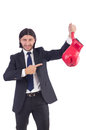 Businessman with boxing gloves on white Royalty Free Stock Photography