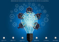 Vector businessman brainstorming for ideas for success with the light bulb, the brain, icons, cogs, flat design. Royalty Free Stock Photo