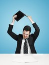 Businessman break laptop in rage Royalty Free Stock Photos