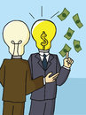 Businessman with bright light bulb head Dollar Sign. Royalty Free Stock Photo