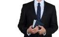 Businessman with business diary Stock Image