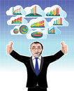 Businessman with business graphs cloud set this is it s for advertising and illustration Royalty Free Stock Photos