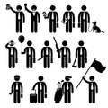 Businessman business man holding objects cliparts a set of human pictogram reprensenting poses and action of him various such as Stock Photography