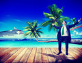 Businessman Business Travel Beach Working Relaxing Concept Royalty Free Stock Photo