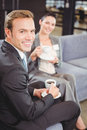 Businessman and businesswoman having tea during breaktime portrait of in office Royalty Free Stock Photo