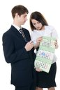 The businessman and businesswoman hold a calendar Royalty Free Stock Photos