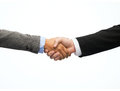 Businessman and businesswoman shaking hands business office concept Royalty Free Stock Images
