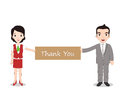 Businessman and businesswomen holding Thank you