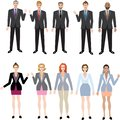 Businessman and Businesswomen Set , Multiracial Executive Manager - Vector Illustration