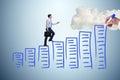 The businessman in career progress concept