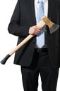 Businessman carrying an axe to do the chopping Royalty Free Stock Image