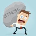 Businessman carrying a big stress rock
