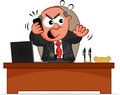 Businessman cartoon boss man behind desk angry phone Royalty Free Stock Photo