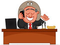 Businessman cartoon boss man happy phone sitting desk Stock Photos