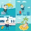 Businessman Cartoon Character Travel Train Ship Airplane Mobile Business Marketing Urban Sky Background Modern Flat Royalty Free Stock Photo