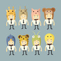 Businessman cartoon set animall hat Royalty Free Stock Photo