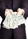 Businessman with cash Stock Photography