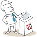 Businessman casting his vote vector illustration of a monochrome cartoon character standing in front of ballot box Royalty Free Stock Photography