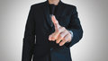 Businessman in casual suit pointing finger, selective focus on hand Royalty Free Stock Photo