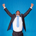 Businessman celebrating with arms raised in the air Stock Images