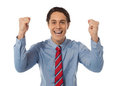 Businessman celebrating success with arms raised Stock Photos