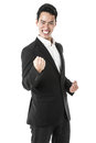 Businessman celebrating in suit in joy Stock Photos