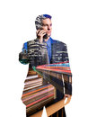 Businessman on cellular phone in los angeles composited with a cityscape of Stock Image
